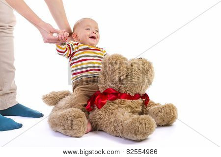 Baby Boy on Plush Dog