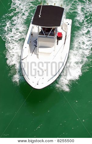 Small Sport Fishingboat with Black Canvas Canopy