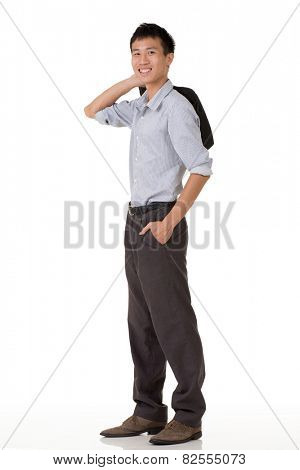 Young business man of Chinese, full length portrait in studio background.
