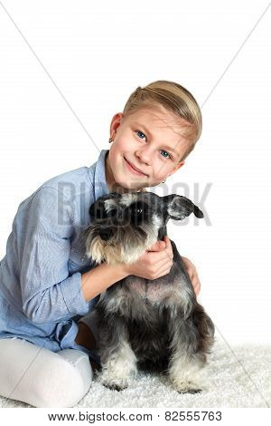 Happy Person And Her Faithful Dog Over White Background