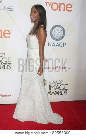 LOS ANGELES - FEB 6:  Aja Naomi King at the 46th NAACP Image Awards Arrivals at a Pasadena Convention Center on February 6, 2015 in Pasadena, CA