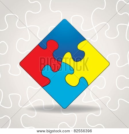 Autism Awareness Puzzle Pieces Illustration