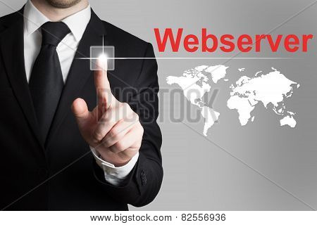 Businessman Pushing Button Webser Worldmap