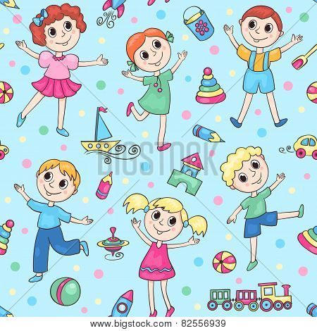 Blue Seamless Pattern With Happy Children
