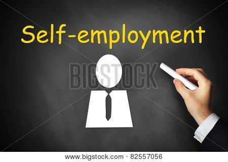 Hand Drawing Self-employment On Chalkboard