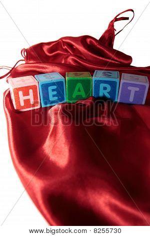Heart Letters Blocks On Silk Night Dress