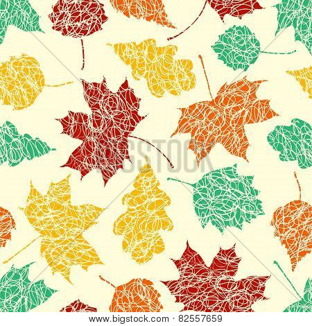 Autumn Leaves With Sketches Lines