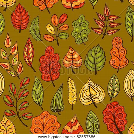 Cartoon Hand-drawn Seamless Pattern With Autumn Leaves