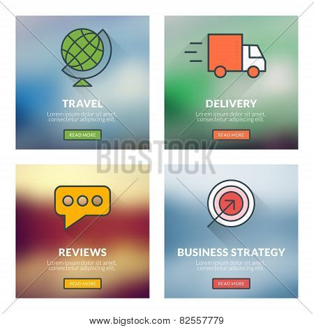 Set Of Flat Design Concepts. Travel, Delivery, Reviews, Business Strategy. Vector Illustration With