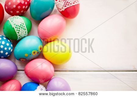 Easter symbols on white background