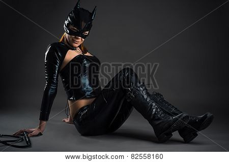 woman cat sitting on floor