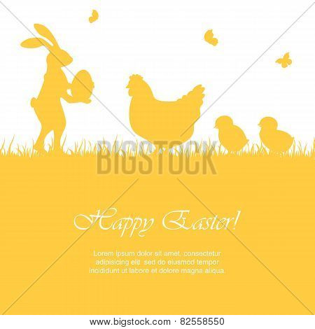 Easter Rabbit And Chickens