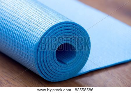 Folded Blue Yoga Mat