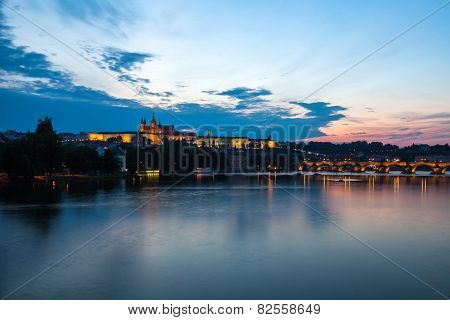General Night View Of Charles Bridge And Castle District In Prague