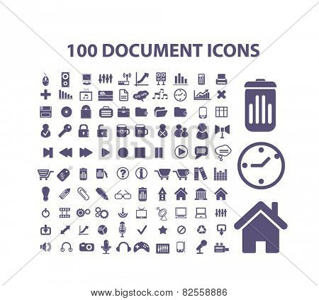 100 document, storage, management, office, documentation isolated design flat icons, signs, illustrations vector set on background
