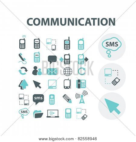communication, connection, community, internet, network, link, smartphone, social media isolated design flat icons, signs, illustrations vector set on background