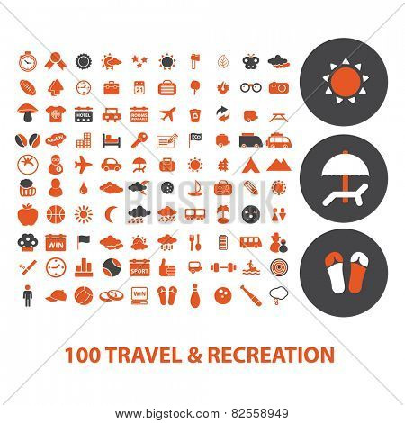 100 travel, beach, recreation, vacation isolated design flat icons, signs, illustrations vector set on background