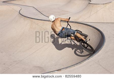 Bmx Rider In Skate-park