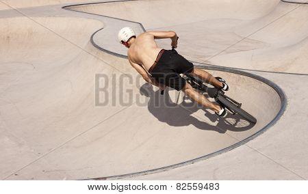 Bmx Rider In Skatepark