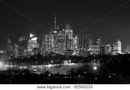 Downtown Toronto At Night In The Winter In Black And White