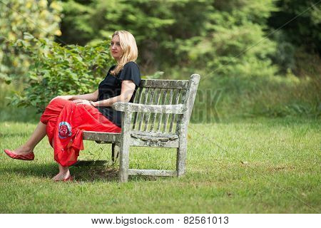 Woman sitting on bench