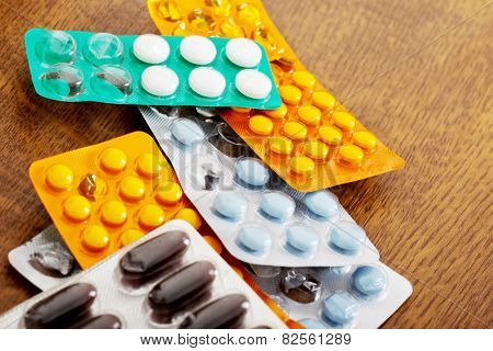 Collection of white healthy pills