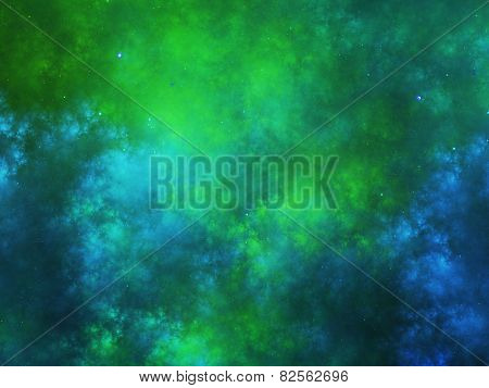 Colorful Nebula Fractal In Space