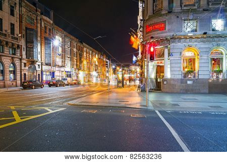 DUBLIN, IRELAND - FEBRUARY 20, 2012: O'Connell street in Dublin at night, Ireland. Dublin is the capital and largest city of Ireland. Located on the east coast, at the mouth of the River Liffey.