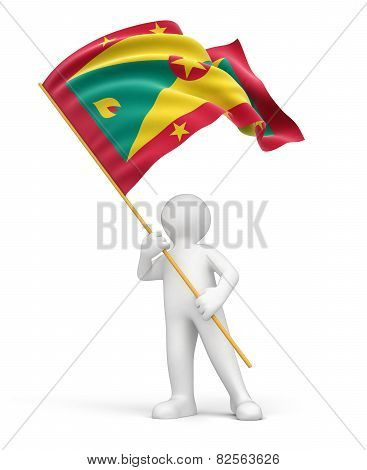 Man and Grenada flag (clipping path included)