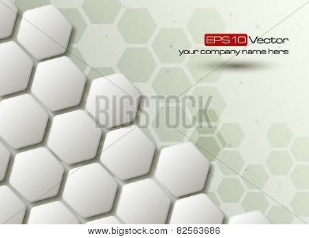 Hexagons technology and communication background. Vector illustration