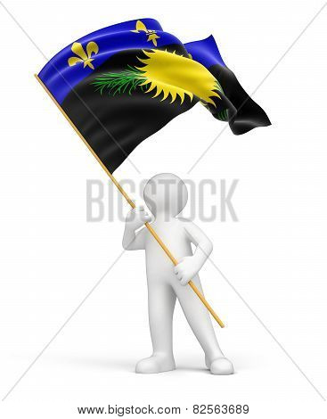 Man and Guadeloupe flag (clipping path included)