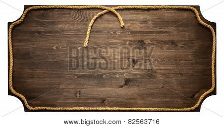 blank wooden sign with rope isolated on white background
