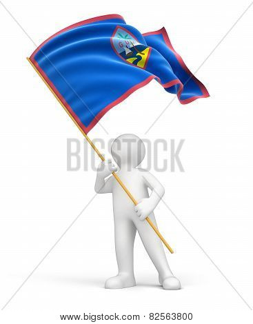 Man and Guam flag (clipping path included)