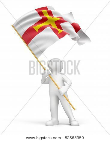 Man and Guernsey flag (clipping path included)