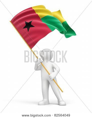 Man and Guinea-Bissau flag (clipping path included)