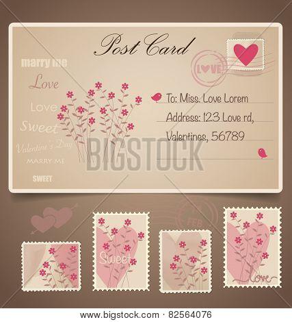 Vintage postcard background and Postage Stamps - for wedding card design, invitation card design, congratulation card design, scrapbook design