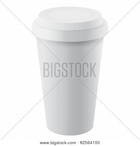 Isolated Disposable Plastic Cup with Lid, Vector Illustration