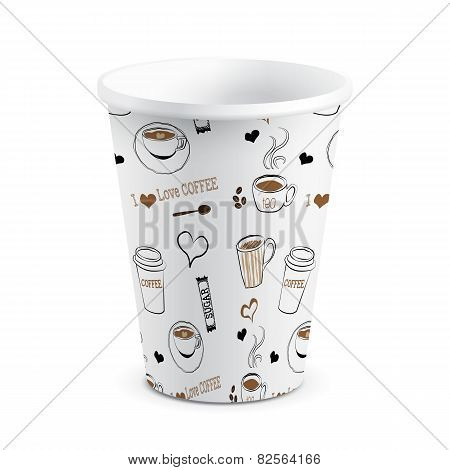 Isolated Disposable Doodle Printed Paper Coffee Cup Vector Illustration