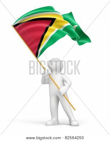 Man and Guyana flag (clipping path included)