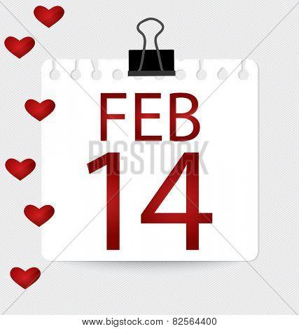 Valentine's calendar - 14 february. Vector illustration.