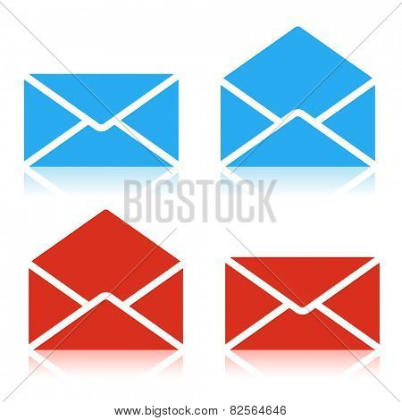 Envelope red and blue Icon Isolated on white background. Set. Illustration