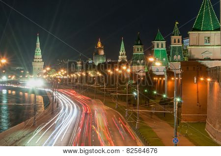 Russia. Evening in Moscow. Night view of the Kremlin and bridge illuminated by lights.