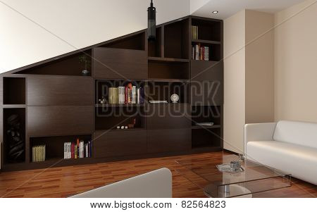 3d render of apartment living room with bookcase