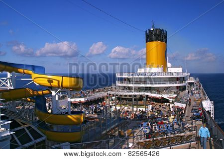 Deck Cruise Ship Costa Magica