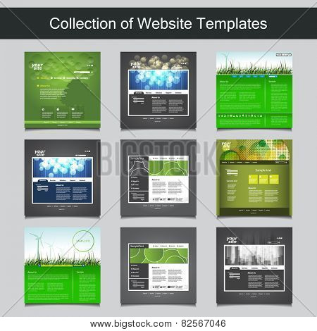 Collection of Website Templates for Your Business - Nine Nice and Simple Design Templates with Different Patterns and Header Designs - Business and Corporate Identity