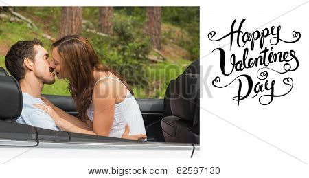 Young couple smooching on the backseat against happy valentines day