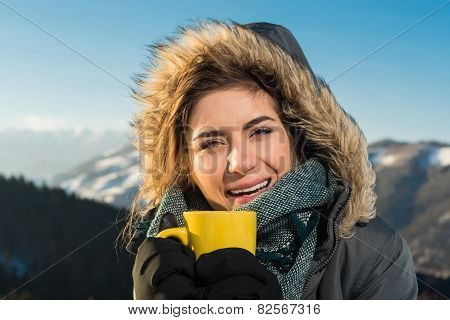 Portrait of cute smiling happy woman
