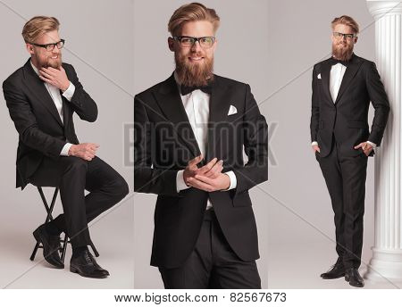 3 poses of an elegant man with long beard in tuxedo suit and bow tie