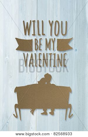 Cute valentines message against bleached wooden planks background