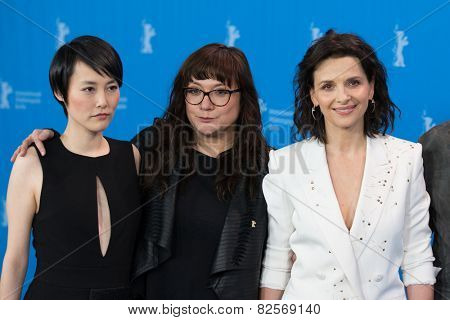 BERLIN, GERMANY - FEBRUARY 05: Rinko Kikuchi, Isabel Coixet, J. Binoche, Nobody Wants the Night. 65th Berlinale International Film Festival at Grand Hyatt Hotel on February 5, 2015 in Berlin, Germany.